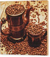 Ceramic Coffee Pot And Mug Overflowing With Beans Wood Print