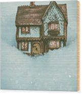 Ceramic Cottage In Snow Wood Print