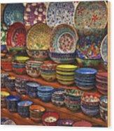 Ceramic Dishes Wood Print