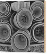Ceramic Pots Bw Wood Print