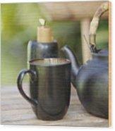 Ceramic Tea Set Wood Print