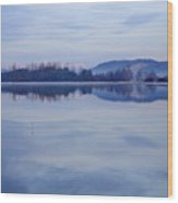 Cerknica Lake At Dawn With Snow Covered Alps In Background Wood Print