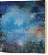 Cerulean Space Clouds Wood Print