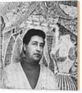 Cesar Chavez Stands In Front Of The Wood Print by Everett