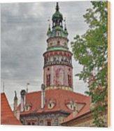 Cesky Krumlov Castle Tower In Cesky Krumlov Of The Czech Republic Wood Print