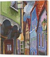 Cesky Krumlov Old Street 1 Wood Print