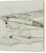 Cessna 180h On Floats Wood Print