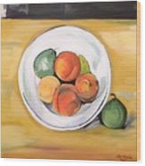 Cezannes Fruit Bowl Wood Print