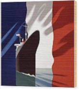 C.g. Transatlantique Vintage Travel Poster Wood Print