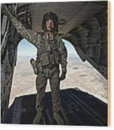 Ch-47 Chinook Crew Chief Stands Wood Print