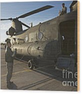 Ch-47 Chinook Crew Preparing To Load Wood Print