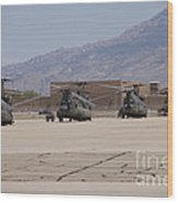 Ch-47 Chinook Helicopters On The Flight Wood Print