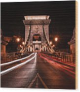 Chain Bridge At Midnight Wood Print