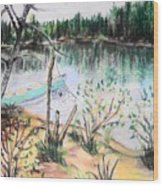 Chain Lakes Duck Mountain Mb Wood Print by Janice Robertson