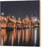 Chains Bridge In Prague Wood Print