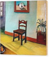 Chair And Pears Interior Wood Print by Michelle Calkins