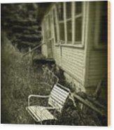 Chair In Grass Wood Print