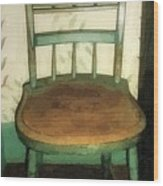 Chair In Isolated Corner Wood Print