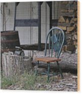 Chair In The Shed Wood Print