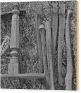 Chair Legs Bw Wood Print