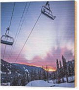 Chairlift Sunset Wood Print