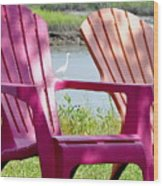 Chairs And Egret Wood Print