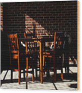 Chairs And Shadows Wood Print