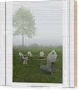 Chairs In The Mist Poster Wood Print