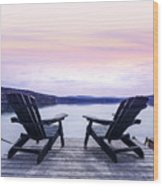 Chairs On Lake Dock Wood Print by Elena Elisseeva