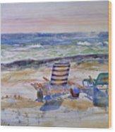Chairs On The Beach Wood Print