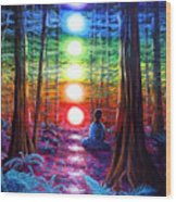 Chakra Meditation In The Redwoods Wood Print by Laura Iverson