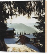 Chalet Through The Trees Wood Print