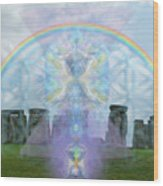 Chalice Over Stonehenge In Flower Of Life And Man Wood Print