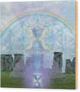 Chalice Over Stonehenge In Flower Of Life Wood Print