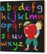 Chalk Board Alphabet B Wood Print
