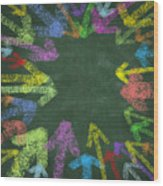 Chalk Drawing Colorful Arrows Wood Print
