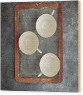 Challkboard Tea Cups Wood Print