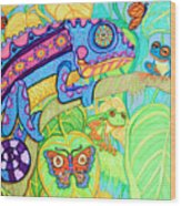 Chamelion And Rainforest Frogs Wood Print