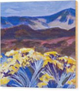 Chamisa And Mountains Of Santa Fe Wood Print