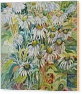 Chamomile Wood Print by Therese AbouNader