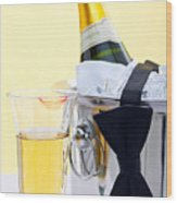 Champagne Black Tie And Lipstick Wood Print by Richard Thomas