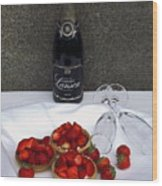Champagne Bottle With Strawberry Tarts And 2 Glasses Wood Print