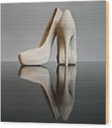 Champagne Stiletto Shoes Wood Print