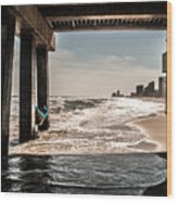 Champagne Surf  Wood Print by Kim Loftis