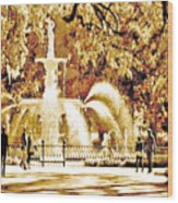 Champagne Twilight Forsyth Park Fountain In Savannah Georgia Usa  Wood Print