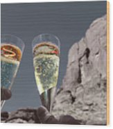 Champagne Wish Wood Print by Angie Wingerd