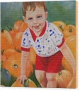 Chance With The Pumpkins Wood Print