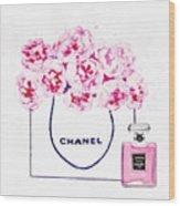 Chanel Bag With Pink Peonys Wood Print