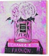 Chanel Perfume With Peony Wood Print