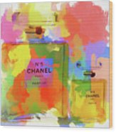 Chanel Five Watercolor Wood Print